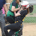 Black River Dagmar Smith scores before the ball reaches Columbia Kristen Bouscher in first inning Apr. 23.  Steve Manheim