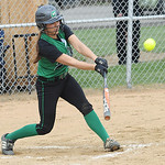 Columbia Emily Viccarone hits an RBI double in first inning Apr. 23. Steve Manheim