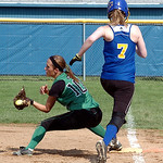 Columbia's #10 Crystall Fetchet makes a difficult catch at first to beat Clearview's #7 Sarah Stambol out.
