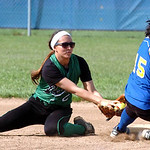 Clearview's #15 Chania Sturgill slides safely into second under the tag of Columbia's #2 Emily Viccarone.