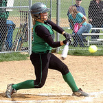Columbia's #4 Emma Sullivan hits a double. (CT photo by Linda Murphy.)