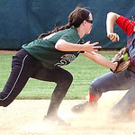 Elyria's #30 Kaitlin Laseke safely slides into second before Westlake #24 Katlyn Nagel can tag her.