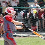 ANNA NORRIS/CHRONICLE<br /> Elyria&#039;s Mackenzie Phares gets a base hit in the sixth inning against Brecksville in the regional championship game.