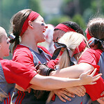 ANNA NORRIS/CHRONICLE<br /> The infielders celebrate Elyria&#039;s 4-0 victory over Brecksville in the Division I regional championship game Saturday.