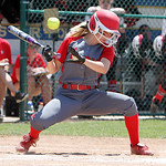 ANNA NORRIS/CHRONICLE<br /> Elyria&#039;s Madison Fullmer avoids getting hit by Brecksville&#039;s Nicole Best pitch in the fifth inning of the Division I Regional 2 championship game at Clyde High School S &#8230;