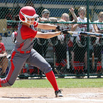 ANNA NORRIS/CHRONICLE<br /> Elyria&#039;s Dierra Hammons hits a single in the third inning against Brecksville in the regional championship game Saturday afternoon at Clyde High School.