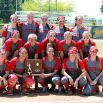 ANNA NORRIS/CHRONICLE<br /> The Elyria Lady Pioneer softball team takes a team photo with their regional championship trophy after beating Brecksville 4-0 Saturday.