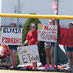 ANNA NORRIS/CHRONICLE<br /> Elyria fans show their support for the Lady Pioneers in the outfield during the Division I Regional 2 championship game at Clyde High School Saturday afternoon.