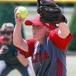 ANNA NORRIS/CHRONICLE<br /> Elyria&#039;s Elizabeth Ellis winds up to pitch against Brecksville in the fourth inning of the Division I Regional 2 championship game at Clyde High School Saturday afterno &#8230;