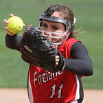 Firelands' Emma Ranney pitches against Revere in the bottom of the third inning yesterday at Firestone Stadium in Akron. ANNA NORRIS/CHRONICLE
