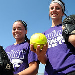 Erin Pond, left, and Mackenzie Conrad of Keystone softball on Mar. 22.   Both were on first team All- Ohio last year and will attend  the University of Akron on softball scholarships.  Steve …