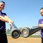 Mackenzie Conrad, left, and Erin Pond, of Keystone softball on Mar. 22.   Both were on first team All- Ohio last year and will attend  the University of Akron on softball scholarships.  Stev …