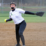 Amherst's Zoe Beetler pitches against Edison. STEVE MANHEIM/CHRONICLE