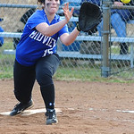 Midview's Nichole Griffin catches a throw for an out at first base.