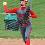 Elyria Carly Bachna makes a throw to first base May 5.  Steve Manheim