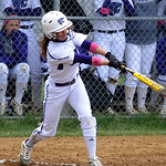 Keystone's Morgan McNulty hits an RBI single in the first inning. STEVE MANHEIM/CHRONICLE
