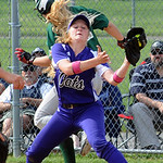 Cloverleaf's KD Smith is thrown out at first base as Keystone's Samantha Peters makes the catch. STEVE MANHEIM/CHRONICLE