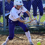 Keystone's Jenny Schaffer hits a sacrifice bunt. STEVE MANHEIM/CHRONICLE