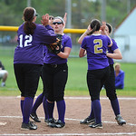 Vermilion celebrates a strike out against Westlake on Saturday. KRISTIN BAUER | CHRONICLE