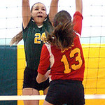 Amherst's #24 Ashley Makruski blocks Brecksville's #13 Emery Sirna.