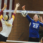 Brunswick 22 Gabbie Bulic hits for a point at Avon Lake's Katie Mihalik in Div. I district final Oct. 25.  Steve Manheim