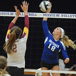 Brunswick 18 Morgan Ritchie hits past Avon Lake Whitney Craigo in Div. I district final Oct. 25.  Steve Manheim