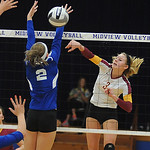 Avon Lake 3 Lauren Bakaitis hits past Brunswick Gina Yurik in Div. I district final Oct. 25.  Steve Manheim