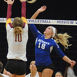 Brunswick 18 Morgan Ritchie hits past Avon Lake Emily Pechaitis in Div. I district final Oct. 25.  Steve Manehim