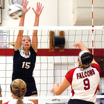 Brookside's #15 Gabby Woods tries to block Firelands' #9 Maison Mastellone.