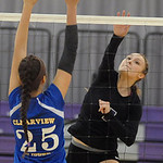 Keystone's Emily Peters hits over Clearview's Leah Diaz on Sept. 24. Steve Manheim