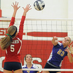 Vermilion&#039;s Kayla Lowe hits past Firelands&#039; Mikayla Walbom.<br/>Steve Manheim/Chronicle