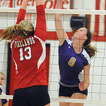 Vermilion&#039;s Rachel Van Curen hits over Firelands&#039; Paige O&#039;Connell.<br /> Steve Manheim/Chronicle