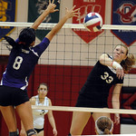 Brookside Jeanine Musall slams ball past Keystone Mallory Nagy Oct. 6.  Steve Manheim
