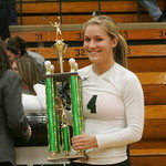 16NOV112011 Lorain County All Star Volleyball,  Miss Volleyball 2011 is Sara Kaminski of Elyria Catholic.  #3 Arrianna Cumberledge congratulates her;          photo by Chuck Humel
