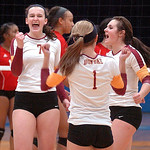 Avon Lake celebrates scoring a point against Elyria Wednesday night. LINDA MURPHY/CHRONICLE