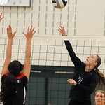 Keystone 7 Emily Peters hits over Brookside Celina Rock in sectionals Oct. 14.  Steve Manheim