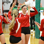 Firelands celebrates after scoring a point against Columbia on Tuesday. KRISTIN BAUER/CHRONICLE