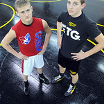 Sebastian Vidika, left, and Mike Hozan are returning state qualifiers for Black River wrestling, in the team wrestling room on Dec. 6.  Steve Manheim