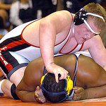 Elyria freshman 285-pounder Kevin Vough controls Olmsted Falls' Jordan Lee on Saturday in Lorain. Vough won the sectional championship. LINDA MURPHY/CHRONICLE
