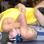 138-pound championship match: Lorain's Eli Garcia works on Copley's Zach Walker. Garcia won the match.