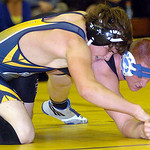 160-pound Colin Riley of North Ridgeville works on Midview's George Hollingsworth of Midview. Riley won the match.
