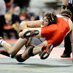 Lorain's Elijah Garcia takes down Fairfiled's Adam Sams during the Division I 138 pound consolation match Saturday at the state tournament in Columbus.