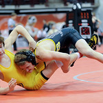 Black River's Sebastian Vidika takes down Day Christian's Hunter Bray during the Division III consolation match at the state tournament in Columbus on Saturday.