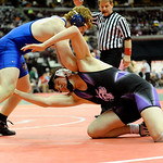 Keystone's Jacob Worthington wrestles against Northwetern's Kile Schaefer during the Division III 182 pound consolation match at the state tournament Saturday in Columbus.  Schaefer won the  …