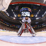 Chicago Blackhawks goalie Corey Crawford (50) skates to his crease before Game 6 of the NHL hockey Stanley Cup Finals against the Boston Bruins, Monday, June 24, 2013, in Boston. (AP Photo/H …