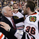 Chicago Blackhawks head coach Joel Quenneville and Chicago Blackhawks center Dave Bolland (36) celebrate the Stanley Cup championship after the Blackhawks beat the Boston Bruins 3-2in Game 6 …