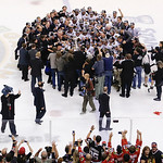 The Chicago Blackhawks pose with the Stanley Cup after beating the Boston Bruins 3-2 in Game 6 of the NHL hockey Stanley Cup Finals, Monday, June 24, 2013, in Boston. (AP Photo/Charles Krupa …