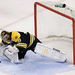 Boston Bruins goalie Tuukka Rask, of Finland, stops a puck against the Chicago Blackhawks during the second period in Game 6 of the NHL hockey Stanley Cup Finals, Monday, June 24, 2013, in B …