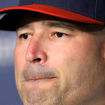 Cleveland Indians manager Manny Acta ponders a questions as he speaks to the media at a news conference Monday, Oct. 26, 2009, in Cleveland. Acta, fired as the Washington Nationals manager i …