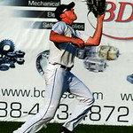 Lucas Raley makes a running outfield catch. STEVE MANHEIM/CHRONICLE